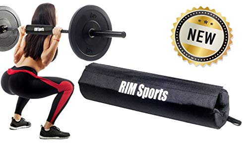 RIMSports Fitness Squat Bar Barbell Pad for Squats, Lunges, and Hip Thrusts - Best Padding Sponge Pads for Hip Thruster - Provides Relief to Neck and Shoulders While Training (Black)
