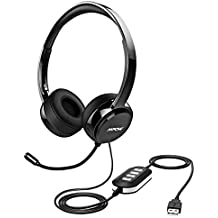 Mpow USB Headset/ 3.5mm Computer Headset with Microphone Noise Cancelling , Lightweight PC Headset Wired Headphones, Business Headset for Skype, Webinar, ...