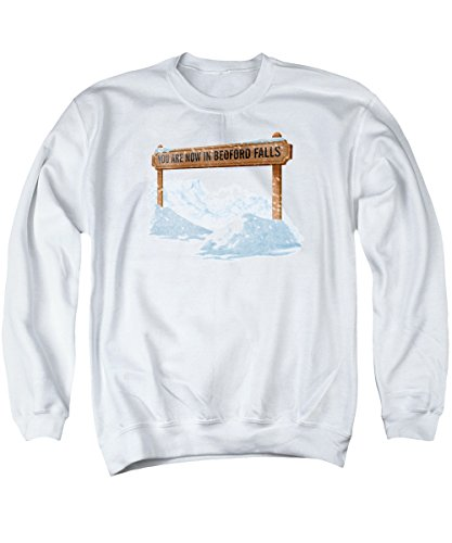 Its A Wonderful Life Bedford Falls Unisex Adult Crewneck Sweatshirt for Men and Women, X-Large White
