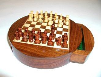 "Sheesham Wood 6"" Round Magnetic Chess Set with Drawer"