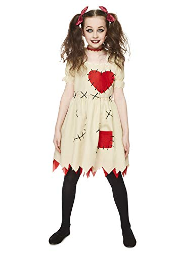 Girl's Voodoo Doll Costume, for Halloween Costume Party Accessory, Medium White and Red