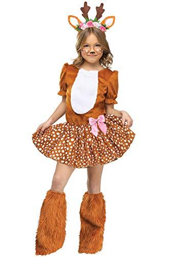 Child Girls Oh Deer Motif Dress With Attached Tail Headband Halloween - Motif Deer