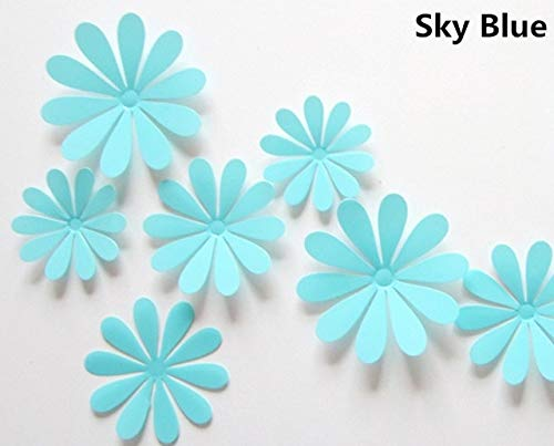 BeesClover 12Pcs 3D Removable Decorative Silver Mirror Flowers Wall Sticker for Kids Room Christmas 3D Art Wall Decals Home Decor Sky Blue
