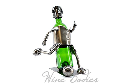 Wine Bodies Soccer Player Metal Wine Bottle Holder, Charcoal