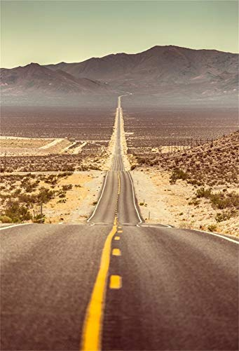 AOFOTO 5x7ft American West Highway Backdrop Cloth Road US Southwest Route 66 Road Trip Journey Mountain Landscape Death Valley Desert Sand Expressway Photography Background Photo Studio Prop