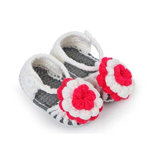 Babyschuhe,Amlaiworld Kleinkind neugeborenes Baby Flower Lace häkeln Schnalle Sandale Schuhe stricken (Ca. 11cm, Gray)