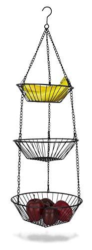 Home Basics 3-Tier Wire Hanging Basket, Black (Copper Baskets Hanging)