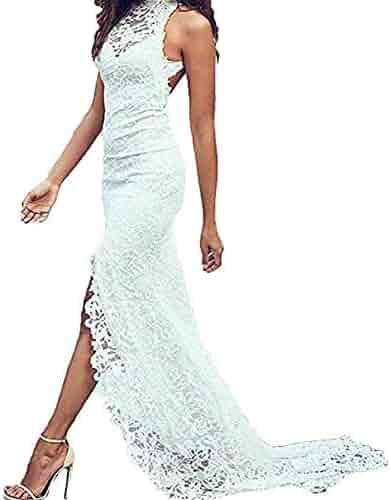 20b53b196dea Stylefun Women's Halter Beach Wedding Dresses Bohemian Vintage Lace High  Low Bridal Gowns 2019 WD013