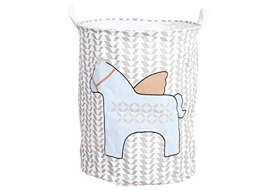 Gelaiken Lightweight Flying Horse Pattern Storage Bucket Cotton and Linen Bucket Sundries Storage Bucket Waterproof Storage Bucket(Gray+White) by Gelaiken