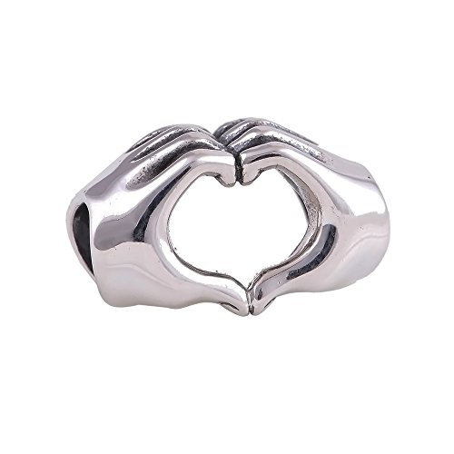 The Kiss Love Heart Hand 925 Sterling Silver Bead Fits European Charm ()