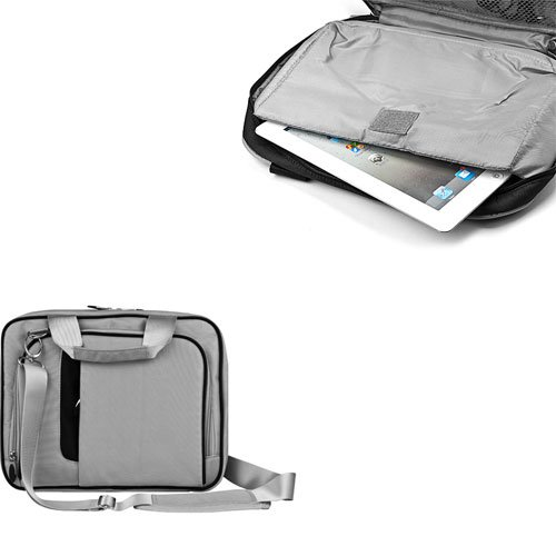 Accessories by VanGoddy Onyx Lined Pewter Pinn Tablet Bag for the LG Optimus Pad + VanGoddy LIVE * LAUGH * LOVE Wristband