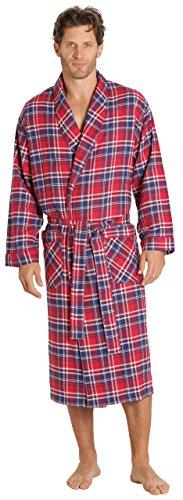 EVERDREAM Mens Flannel Robe, Shawl Collar Lightweight 100% Cotton Bathrobe, Size Small/Medium - Red Robe Flannel