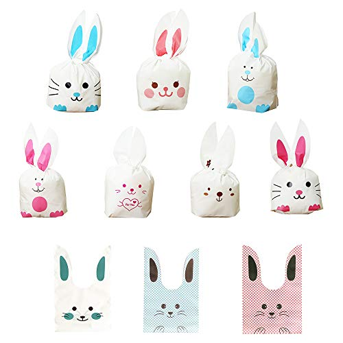 Daimay 50 Pcs Halloween Bunny Candy Bags Easter Gift Wrap Bags Cookie Bread Cake Dessert Drawstring Pouch Pocket with Rabbit Ear for Party Favors Supplies -
