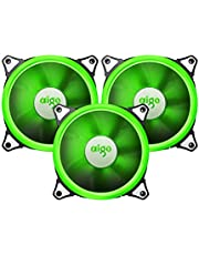 Aigo Aurora 120mm Cooling Fan with Green LED Halo Ring Anti-Vibration Pads (3 Pack)