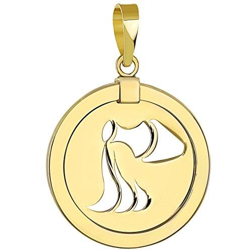 Gold Aquarius Zodiac Charm - 14K Yellow Gold Reversible Round Aquarius Zodiac Sign Pendant