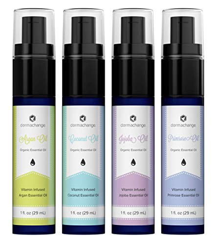 Moisturizing & Anti Aging Vitamin Infused Oil - Anti Wrinkle & Skin Brightening Organic Essential Oil Set of 4 - Coconut, Evening Primrose, Jojoba & Argan Oil - Reduces Scar & Stretchmark Visibility
