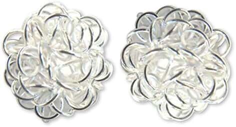 NOVICA .925 Sterling Silver Button Earrings 'Flirt'