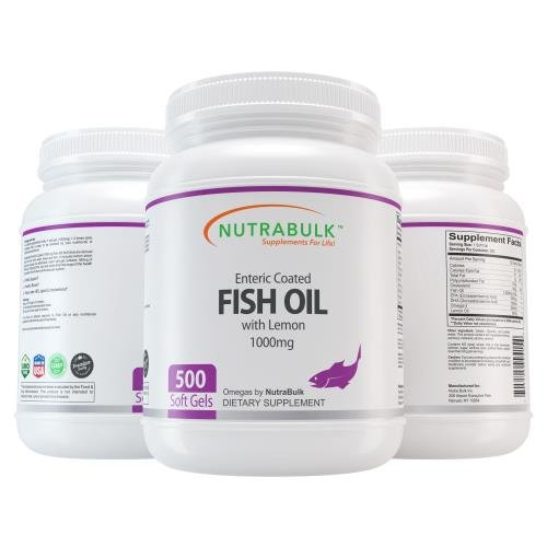 Nutrabulk Enteric Coated Omega-3 Fish Oil 1000mg Soft Gels 500 Count