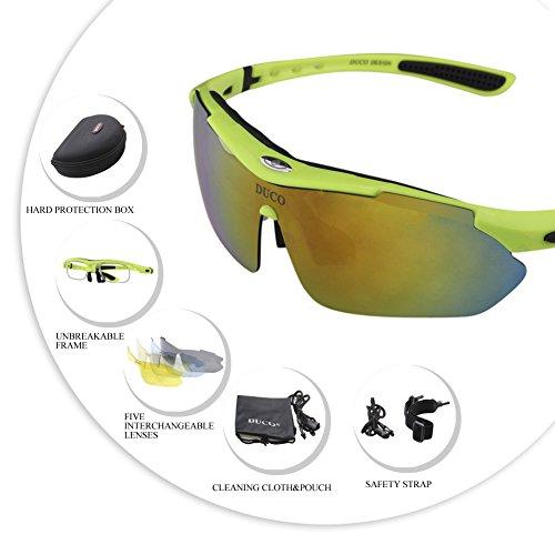 SP0868 Lunettes d'extérieur Verres Lunettes Vert professionelles pour Soleil Interchangeable 5 avec Duco de polarisées Cyclisme Lunettes fluorescent Cadre Sports UV400 Verres qT8BOwx7