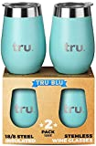 Outdoor Vacuum Insulated Wine Tumblers with Lids (Set of 2), Stainless Steel Glasses 350ml - Double Wall Stemless Metal Cup - Travel, Camping, Lightweight, Unbreakable, BPA Free (Teal, 350ml)