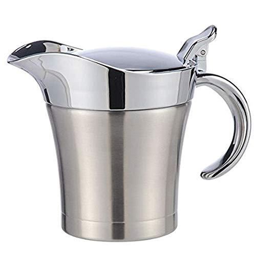 500ml Stainless Steel Sauce Jug Double Insulated Thermal Gravy Boat Sauce Vinegar Lid Jug Liquid Container for Gravy, Sauces, Custard and Much More(silver) ()