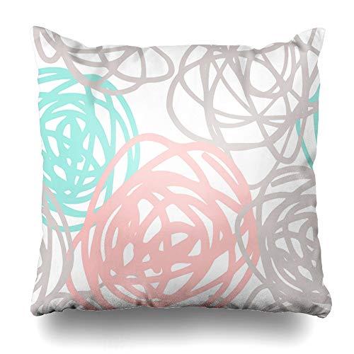 Suesoso Decorative Pillows Case 16 x 16 Inch Pink Gray Teal Doodle Throw Pillowcover Cushion Decorative Home Decor Garden Sofa Bed Car
