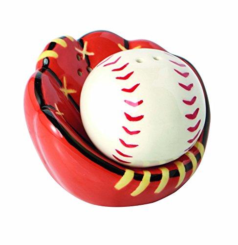 Baseball Catchers Mitt Ceramic Salt and Pepper (Baseball Sprinkles)