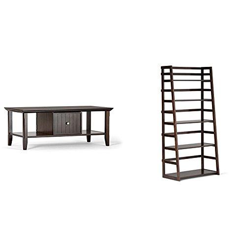 Simpli Home Acadian Coffee Table, Rich Tobacco Brown + Simpli Home Acadian Ladder Shelf Bookcase, Rich Tobacco Brown :Bundle