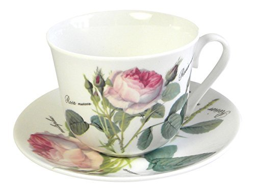 England China Cup - Roy Kirkham Redoute Rose Breakfast Teacup Cup and Saucer Set Fine Bone China