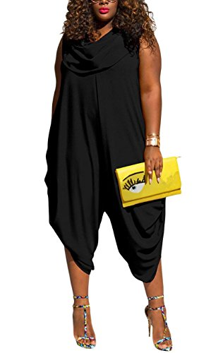 Inorin Womens Plus Size Summer Wide Leg Harem Jumpsuits Casual One Piece Cowl Neck Sleeveless Rompers Outfits - Cowl Neck Jumpsuit