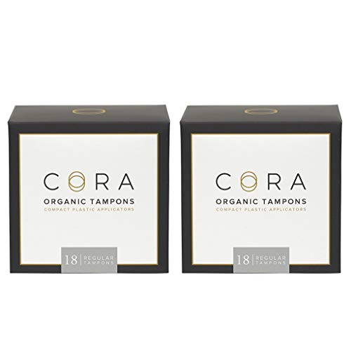 Cora Organic Cotton Tampons with BPA-Free Plastic Compact Applicator - Chlorine & Toxin Free - Regular (36 Count)