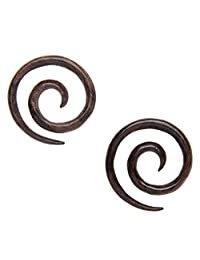 81stgeneration Women's Men's Wood Brown Spiral 3 mm 10 Gauge Stretcher Tribal Earrings