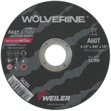 """Weiler Wolverine Thin Cutting Wheels  4-1//2/"""" x .045/"""" 50//pk 56281"""