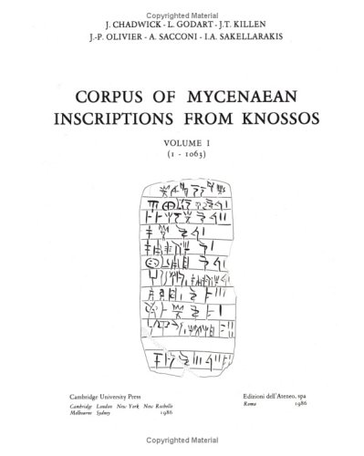 Corpus of Mycenaean Inscriptions from Knossos: Volume 1, 1-1063
