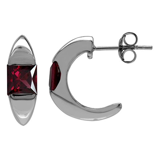 (1.86ct. Natural Rhodolite Garnet White Gold Plated 925 Serling Silver C-Hoop Earrings)