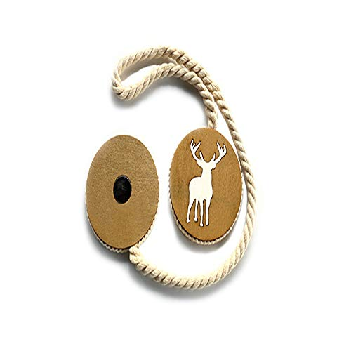 Curtain Straps Decorative Tie-Backs 2 PCS Of Curtain Tiebacks Creative Curtain Holder Cotton Rope Weaving Curtain Rope Clips Drape Handmade Wood Carved Elk Pattern Rope Tieback & Holdbacks For - Elk Backs Tie