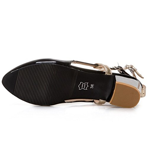 COOLCEPT Mujer Moda Correa de Tobillo Sandalias Tacon Ancho Medio Cerrado Zapatos Tamano Negro