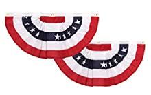 GiftExpress Made in USA 2 Pack 1.5 Ft x 3 Ft Polycotton Stars & Stripes Pleated Fans/American Flag Bunting Outdoor Patriotic Decoration (1.5 ft x 3 ft)