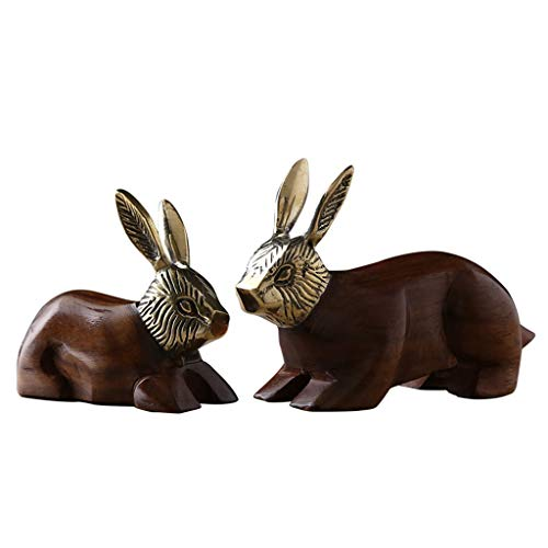 (Sculpture Two Pure Copper Rabbit Ornaments Home Accessories European Style Ornaments Living Room TV Cabinet Porch Decorations, Rosewood Base (Color : Brown, Size : 1610.5cm))