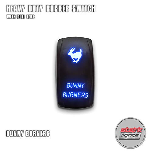 BUNNY BURNERS - Blue - STARK 5-PIN Laser Etched LED Rocker Switch Dual Light - 20A 12V ON/OFF