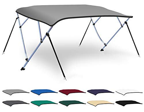 - XGEAR 3-4 Bow Bimini Top Boat Cover with 4 Straps, Mounting Hardwares and Storage Boot, Full Size in Color Grey, Pacific, Navy, Black, Beige, Green, White (Light Grey, 4 Bow: 8'L x 54