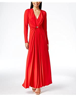 Calvin Klein Women's Long-Sleeve V-Neck Gathered Gown Red 4
