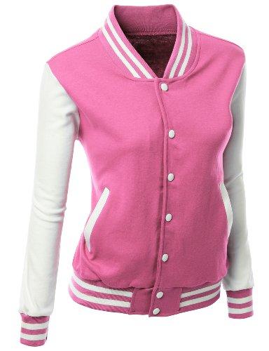 Stylish Fabric Baseball Jacket Pink S