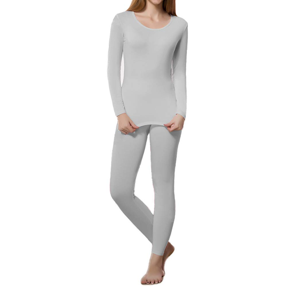 HEROBIKER Thermal Underwear Women Ultra-Soft Set Base Layer Top & Bottom Long Johns with Fleece Lined Grey by HEROBIKER
