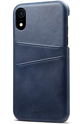XRPow Apple iPhone XR Wallet Phone Case, Slim Leather Wallet Case Back Cover With Credit Card Holder Blue