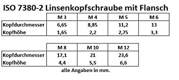 M 10 x 16 Flanschschrauben mit Innensechskant //// EHK-Verbindungstechnik 25 St/ück Linsenkopfschrauben mit Flansch ISO 7380//2 M3 M4 M5 M6 M8 M10 M12 Edelstahl V2A