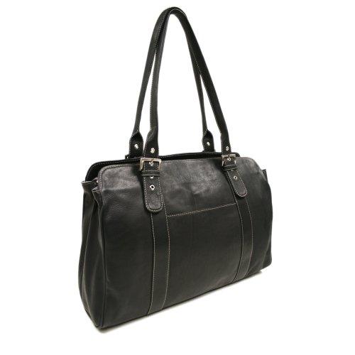 (Piel Leather Ladies Buckle Laptop Tote, Black, One)