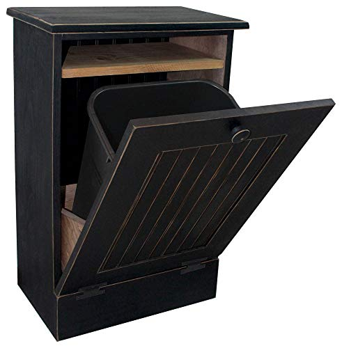 (Wooden Printer Stand with Tilt-Out Waste Paper Bin (Old Black))