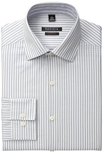 Van Heusen Men's Slim Fit Stripe, Ash, 15.5/32x33