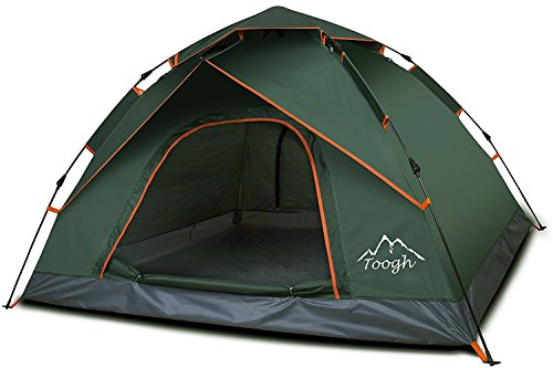 Toogh 3 Person Camping Tent 4 Season Backpacking Tent Automatic Instant Pop Up Tent for Outdoor Sports